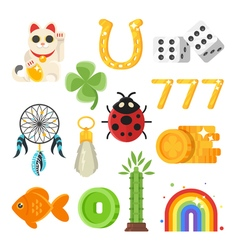 flat style set of luck objects vector image