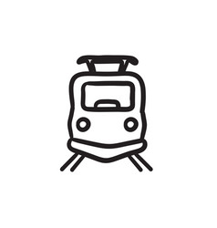 Front view of train sketch icon vector