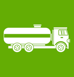 fuel tanker truck icon green vector image