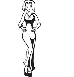 Girl in long dress vector