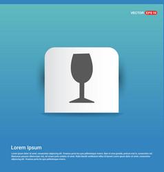 glass icon - blue sticker button vector image