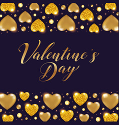 golden glittering hearts and gemstones vector image