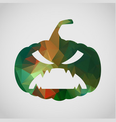 halloween card with scary pumpkin of triangle vector image