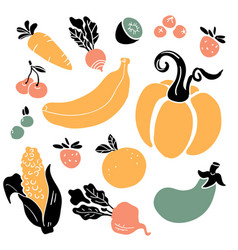 hand drawn colorful doodle vegetables and fruits vector image