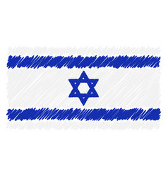 hand drawn national flag of israel isolated on a vector image