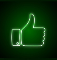 hand with thumb up neon like icon for your design vector image