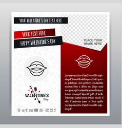 happy valentines day red icon vertical banner red vector image