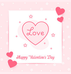heart valentine card text love line icon vector image