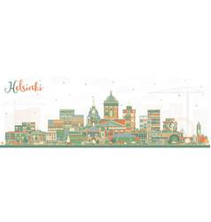 Helsinki finland city skyline with color buildings vector