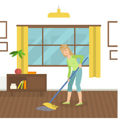 housewife cleaning floor with mop young woman vector image
