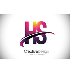 Hs h s purple letter logo with swoosh design vector
