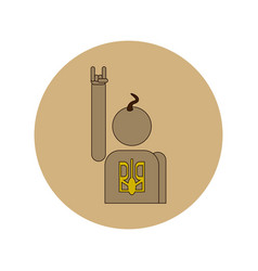 In flat design of cossack vector