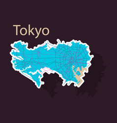 Japan tokyo - top view map showing streets design vector
