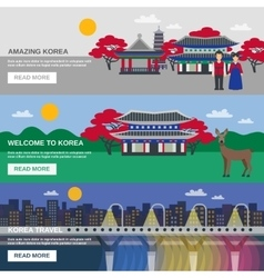 Korean Culture 3 Flat banners Set vector image