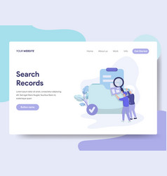 Landing page template search records concept vector