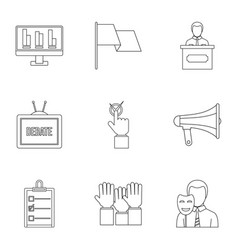 legal icons set outline style vector image