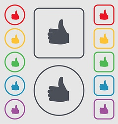 Like Thumb up icon sign symbol on the Round and vector