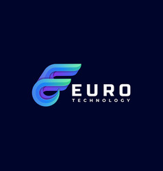 logo euro gradient colorful style vector image
