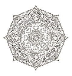 Mandala pattern doodle drawing round coloring vector