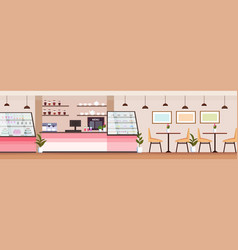 modern coffee shop empty no people cafeteria vector image