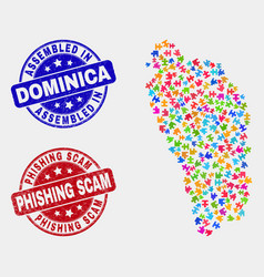 Module dominica island map and grunge assembled vector