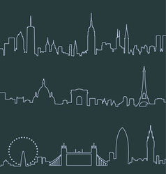 New york paris and london profile lines vector