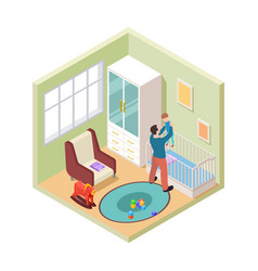 nursery interior isometric father and son in kids vector image
