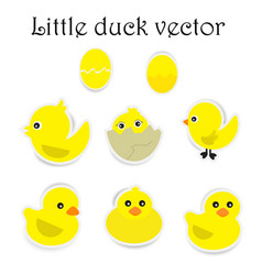 Paper little duck on white background vector