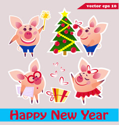 piggy set of stickers vector image