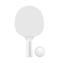 ping pong racket with ball mockup isolated vector image