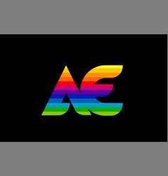 rainbow color colored colorful alphabet letter ae vector image