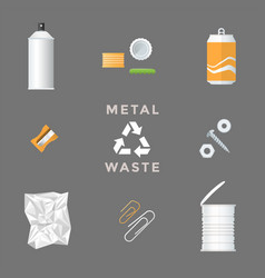 Recycle metal waste management set vector