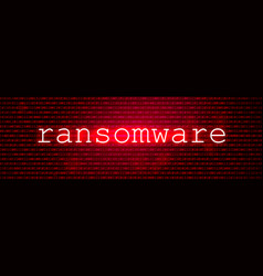 Red bg with code cyber attack and ransomware vector