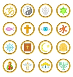Religion set cartoon style vector