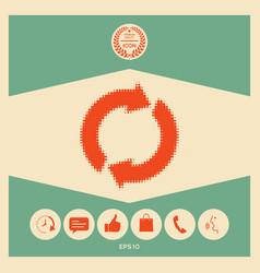 reset button reload arrows - halftone logo vector image