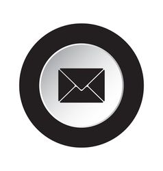 round black white button - mailing envelope icon vector image