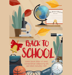 School supplies and student items education poster vector
