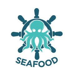 seafood delivery emblem with octopus and steering vector image