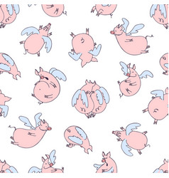seamless pattern of cartoon pigs angels flying vector image