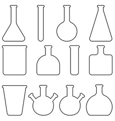 Set icons glass laboratory tableware vector