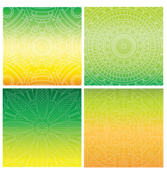 set of cards with indian mandala on green gradient vector image