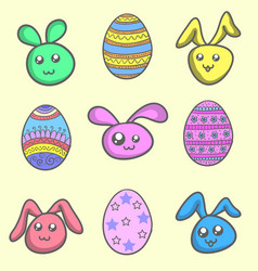 Set of easter egg and easter bunny vector