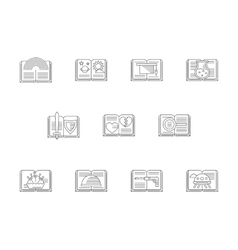 Set of literary genres flat line icons vector