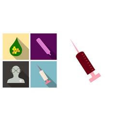 Set of medecine icons termometer doctor syringe vector