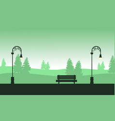 Silhouette of street lamp with chair scenery vector