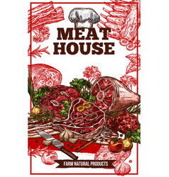 sketch meat house poster vector image