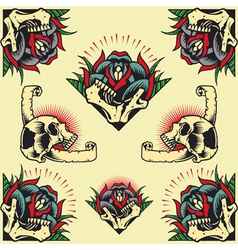 Skull and Rose Frames vector