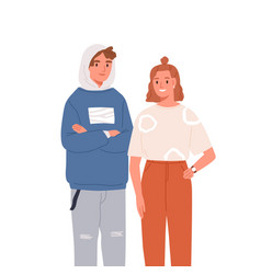 smiling modern teenagers pair flat vector image