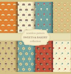 sweets and bakery seamless pattern vector image