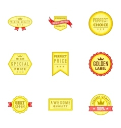 Tag quality icons set cartoon style vector image vector image